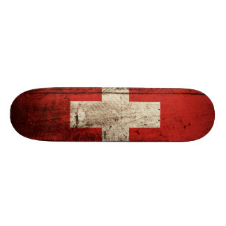 Switzerland Flag on Old Wood Grain Skateboard Decks
