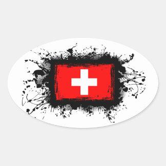Switzerland Flag Oval Sticker