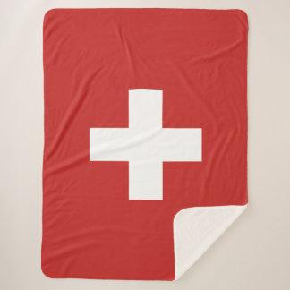 Switzerland flag sherpa blanket