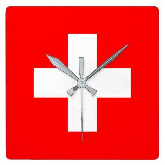 Switzerland Flag Square Wall Clock