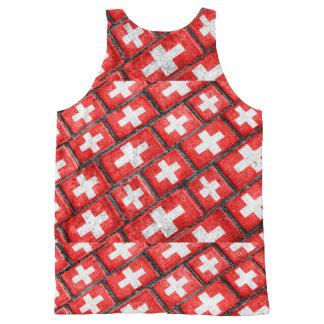 Switzerland Flag Urban Grunge Pattern All-Over-Print Tank Top