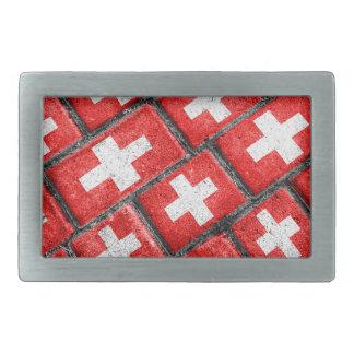 Switzerland Flag Urban Grunge Pattern Belt Buckles