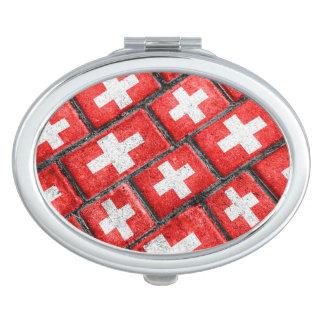 Switzerland Flag Urban Grunge Pattern Compact Mirrors