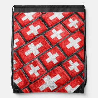 Switzerland Flag Urban Grunge Pattern Drawstring Bag