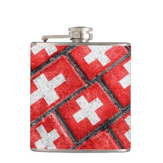 Switzerland Flag Urban Grunge Pattern Hip Flask