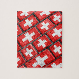 Switzerland Flag Urban Grunge Pattern Jigsaw Puzzle