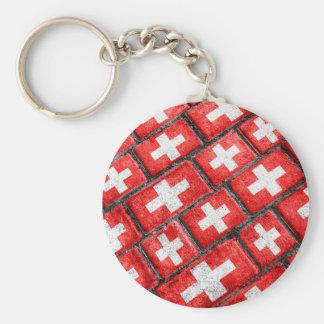 Switzerland Flag Urban Grunge Pattern Keychain