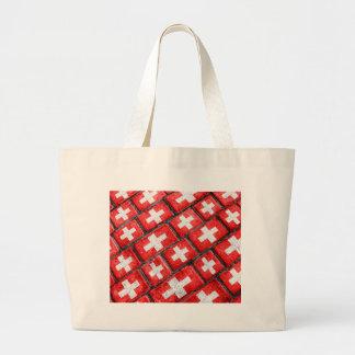 Switzerland Flag Urban Grunge Pattern Large Tote Bag