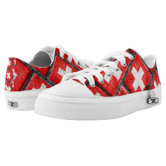 Switzerland Flag Urban Grunge Pattern Low-Top Sneakers