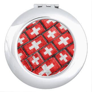 Switzerland Flag Urban Grunge Pattern Makeup Mirror