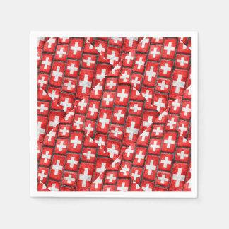 Switzerland Flag Urban Grunge Pattern Paper Napkins