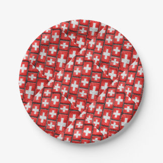 Switzerland Flag Urban Grunge Pattern Paper Plate