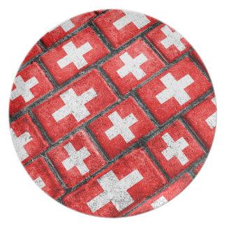 Switzerland Flag Urban Grunge Pattern Plate