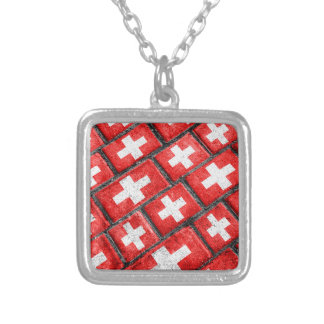 Switzerland Flag Urban Grunge Pattern Silver Plated Necklace