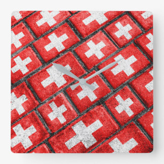 Switzerland Flag Urban Grunge Pattern Square Wall Clock