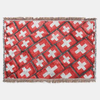 Switzerland Flag Urban Grunge Pattern Throw Blanket
