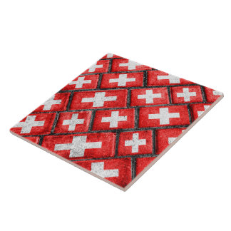 Switzerland Flag Urban Grunge Pattern Tile