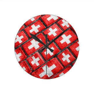 Switzerland Flag Urban Grunge Pattern Wallclocks