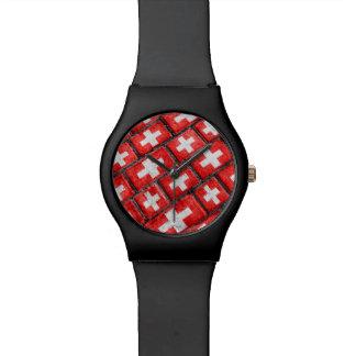 Switzerland Flag Urban Grunge Pattern Watches