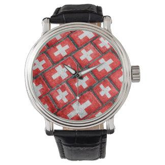 Switzerland Flag Urban Grunge Pattern Wristwatch