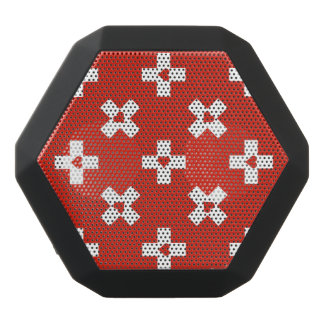 Switzerland Flag with  Heart pattern Black Bluetooth Speaker