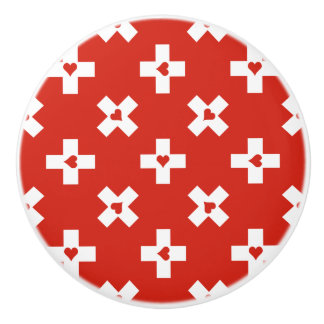 Switzerland Flag with  Heart pattern Ceramic Knob