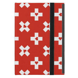 Switzerland Flag with  Heart pattern Cover For iPad Mini