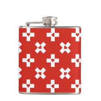 Switzerland Flag with  Heart pattern Hip Flask