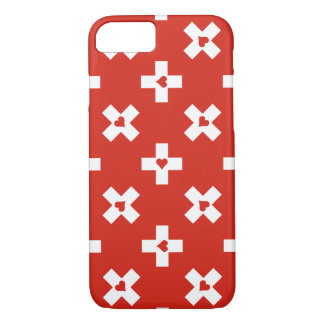 Switzerland Flag with  Heart pattern iPhone 8/7 Case