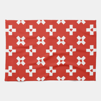 Switzerland Flag with  Heart pattern Kitchen Towel