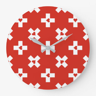 Switzerland Flag with  Heart pattern Large Clock