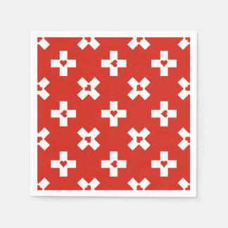 Switzerland Flag with  Heart pattern Napkin