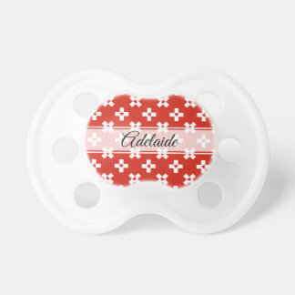 Switzerland Flag with  Heart pattern Pacifier