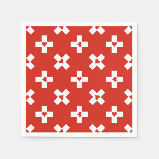 Switzerland Flag with  Heart pattern Paper Napkins
