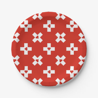 Switzerland Flag with  Heart pattern Paper Plate