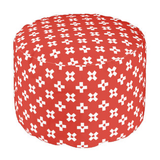 Switzerland Flag with  Heart pattern Pouf