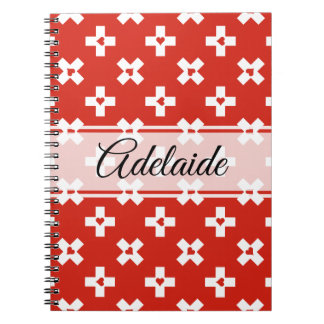 Switzerland Flag with  Heart pattern Spiral Notebook