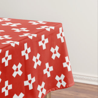 Switzerland Flag with  Heart pattern Tablecloth