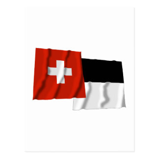 Switzerland Fribourg Waving Flags Post Card