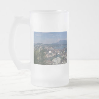 SWITZERLAND FROSTED GLASS BEER MUG