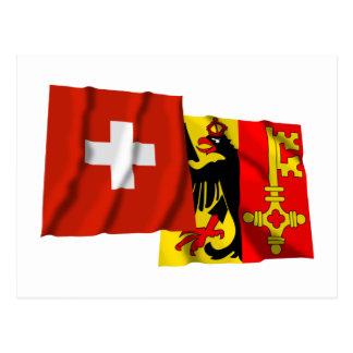 Switzerland & Geneva Waving Flags Postcards