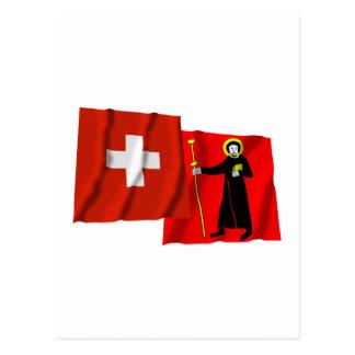 Switzerland Glarus Waving Flags Post Card