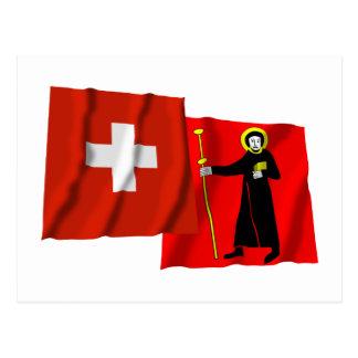 Switzerland & Glarus Waving Flags Postcard