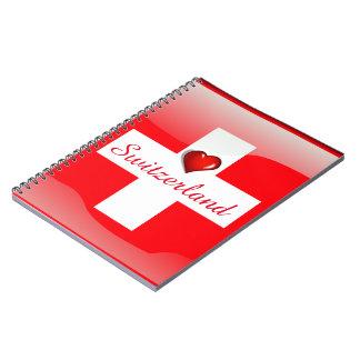 Switzerland glossy flag spiral note books