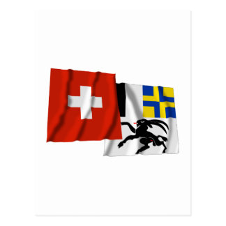 Switzerland & Graubuenden Waving Flags Post Cards
