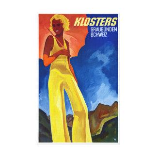 Switzerland Graubünden Vintage Poster Restored Canvas Print