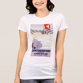 Switzerland Jungfrau Railway Vintage Poster T-Shirt