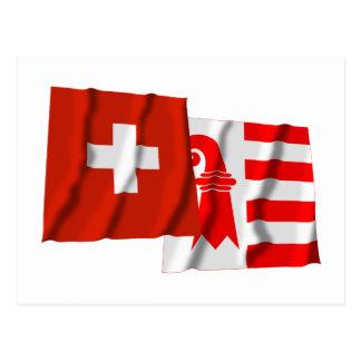 Switzerland & Jura Waving Flags Postcard