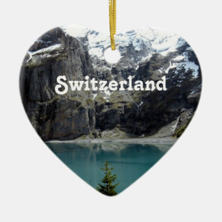 Switzerland Landscape Ceramic Heart Ornament