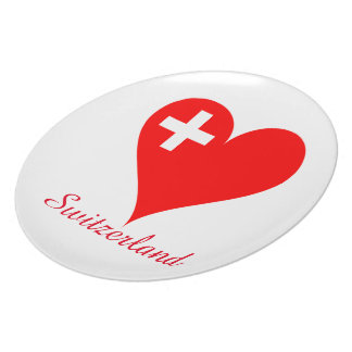 Switzerland love heart plate
